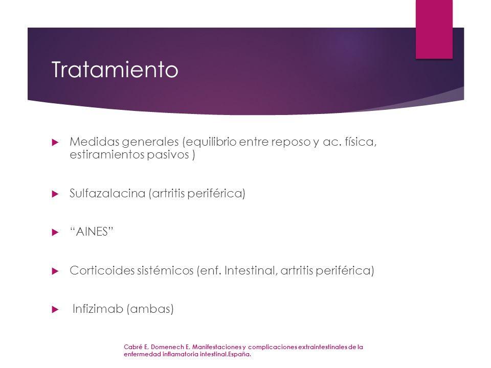 Tratamiento Medidas generales (equilibrio entre reposo y ac. física, estiramientos pasivos ) Sulfazalacina (artritis periférica) AINES Corticoides sis