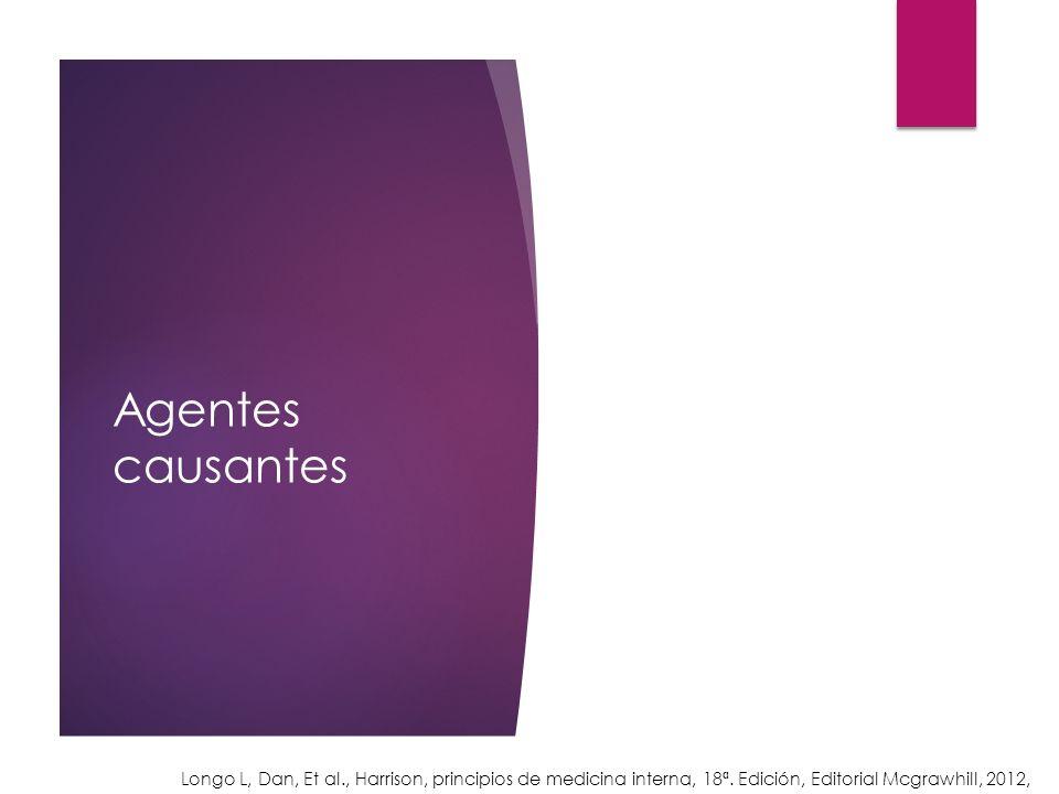 Agentes causantes Longo L, Dan, Et al., Harrison, principios de medicina interna, 18ª. Edición, Editorial Mcgrawhill, 2012,