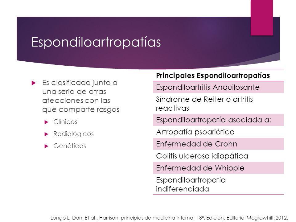 Espondiloartropatías Es clasificada junto a una seria de otras afecciones con las que comparte rasgos Clínicos Radiológicos Genéticos Principales Espo