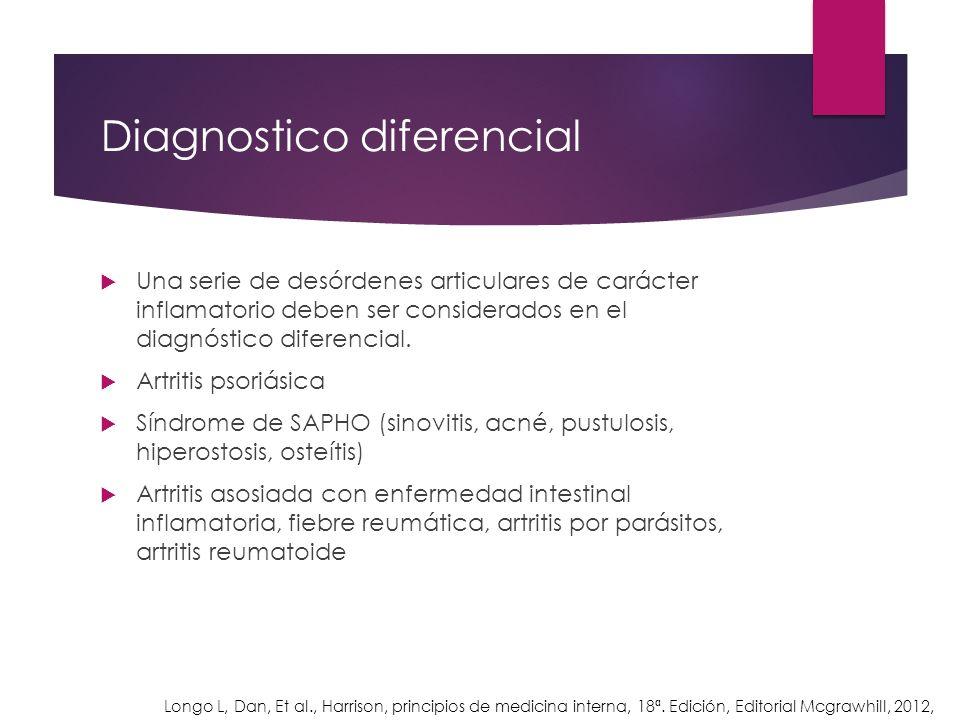 Diagnostico diferencial Una serie de desórdenes articulares de carácter inflamatorio deben ser considerados en el diagnóstico diferencial. Artritis ps