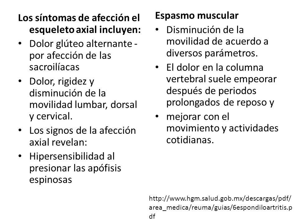 Los síntomas de afección el esqueleto axial incluyen: Dolor glúteo alternante - por afección de las sacroilíacas Dolor, rigidez y disminución de la mo