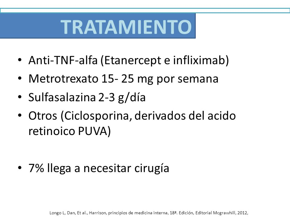 Anti-TNF-alfa (Etanercept e infliximab) Metrotrexato 15- 25 mg por semana Sulfasalazina 2-3 g/día Otros (Ciclosporina, derivados del acido retinoico P