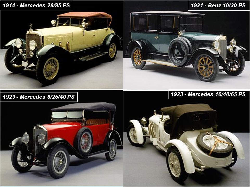 1914 - Mercedes 28/95 PS 1921 - Benz 10/30 PS 1923 - Mercedes 6/25/40 PS 1923 - Mercedes 10/40/65 PS