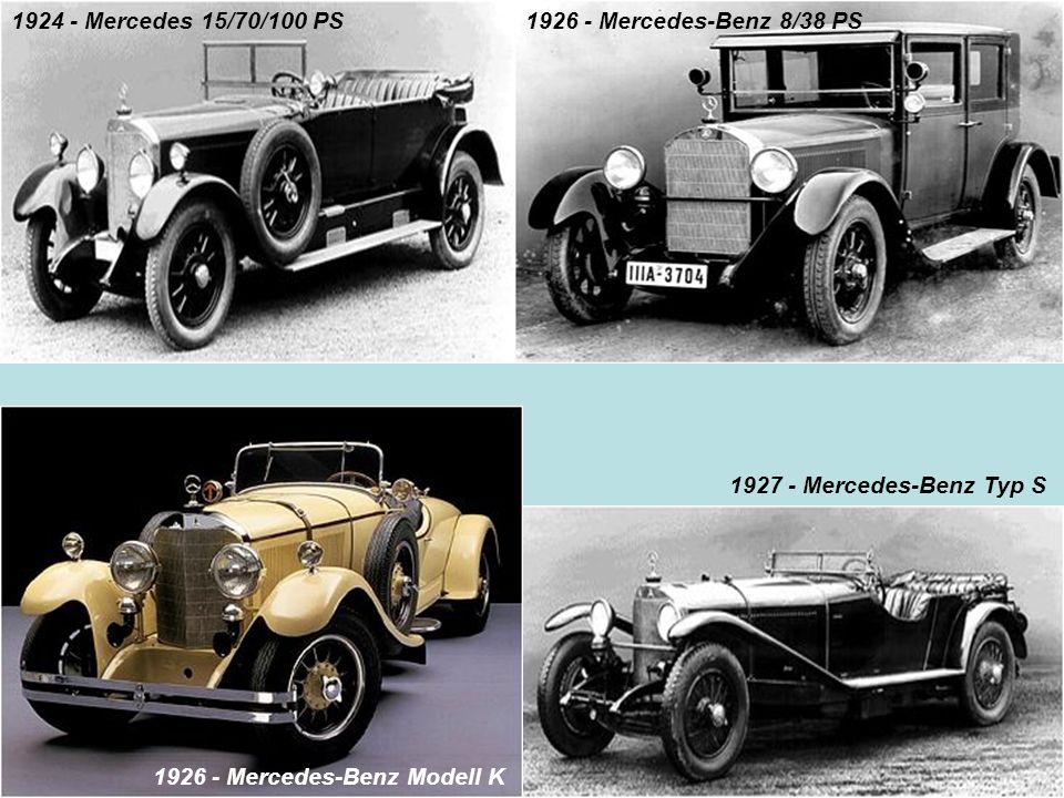 1924 - Mercedes 15/70/100 PS 1926 - Mercedes-Benz 8/38 PS 1927 - Mercedes-Benz Typ S 1926 - Mercedes-Benz Modell K