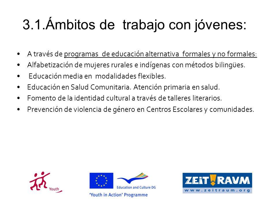 3.1.Ámbitos de trabajo con jóvenes: A través de programas de educación alternativa formales y no formales: Alfabetización de mujeres rurales e indígenas con métodos bilingües.