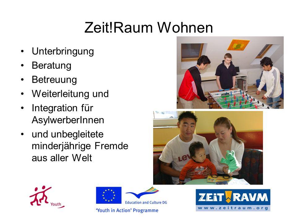 Zeit!Raum Wohnen Unterbringung Beratung Betreuung Weiterleitung und Integration für AsylwerberInnen und unbegleitete minderjährige Fremde aus aller Welt