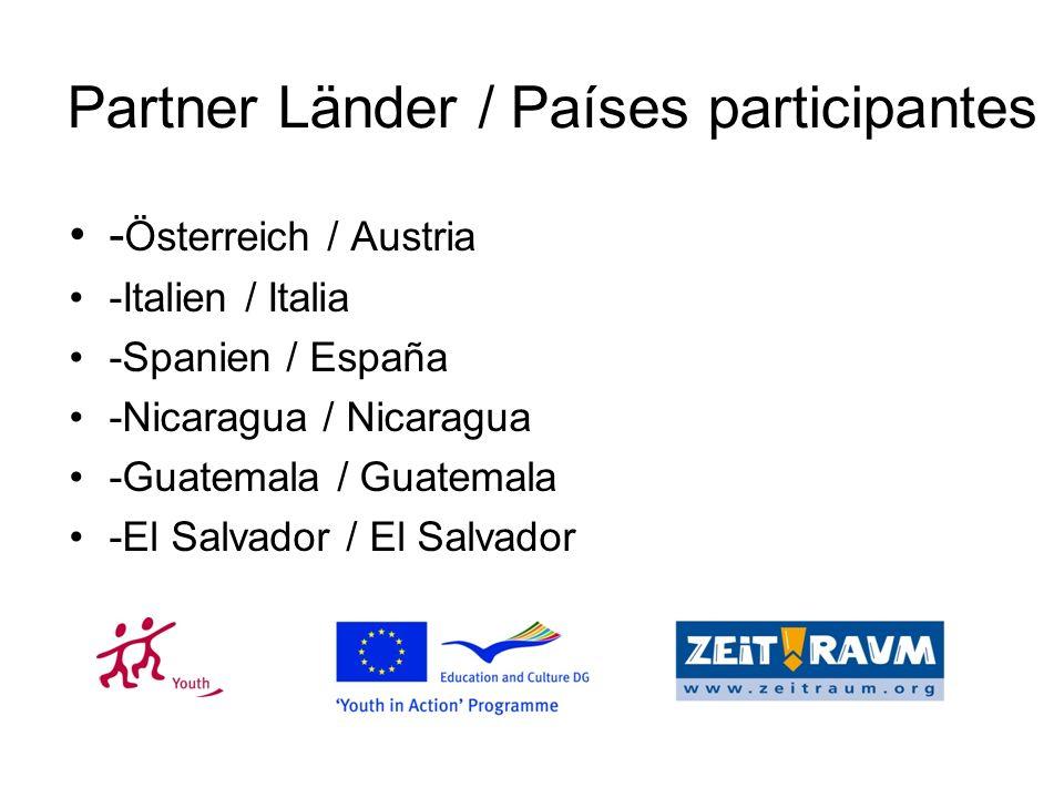 Partner Länder / Países participantes - Österreich / Austria -Italien / Italia -Spanien / España -Nicaragua / Nicaragua -Guatemala / Guatemala -El Salvador / El Salvador