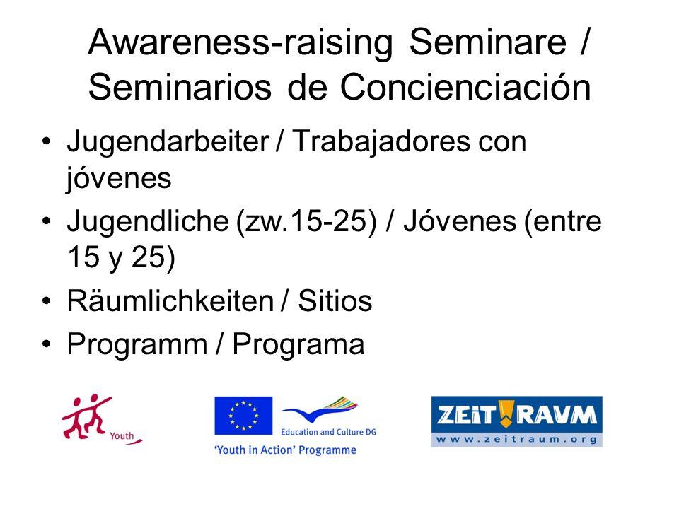 Awareness-raising Seminare / Seminarios de Concienciación Jugendarbeiter / Trabajadores con jóvenes Jugendliche (zw.15-25) / Jóvenes (entre 15 y 25) Räumlichkeiten / Sitios Programm / Programa