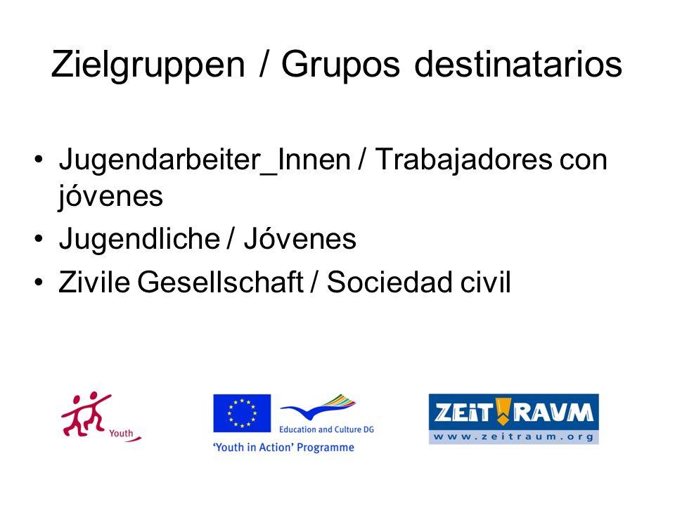 Zielgruppen / Grupos destinatarios Jugendarbeiter_Innen / Trabajadores con jóvenes Jugendliche / Jóvenes Zivile Gesellschaft / Sociedad civil