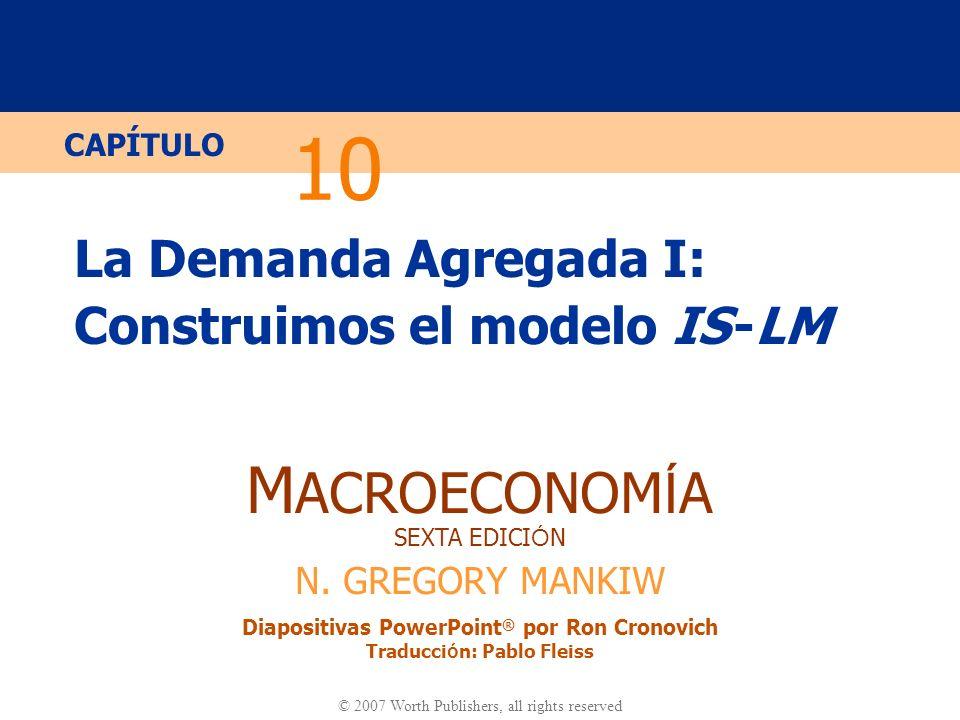 Diapositiva 21 CAPÍTULO 10 La Demanda Agregada I La curva IS y el modelo de fondos prestables S, I r I (r )I (r ) r1r1 r2r2 r Y Y1Y1 r1r1 r2r2 (a) El modelo de F.P.