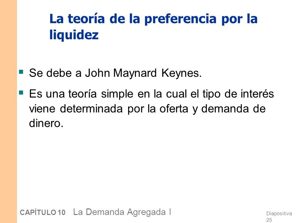 Diapositiva 25 CAPÍTULO 10 La Demanda Agregada I La teoría de la preferencia por la liquidez Se debe a John Maynard Keynes. Es una teoría simple en la