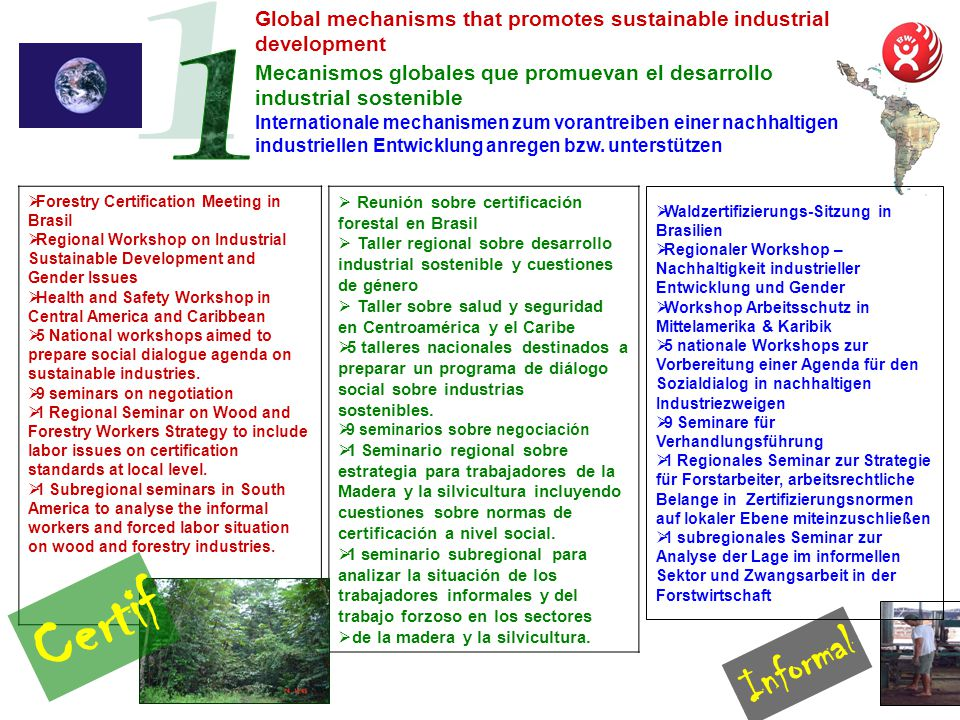 Mecanismos globales que promuevan el desarrollo industrial sostenible Forestry Certification Meeting in Brasil Regional Workshop on Industrial Sustainable Development and Gender Issues Health and Safety Workshop in Central America and Caribbean 5 National workshops aimed to prepare social dialogue agenda on sustainable industries.