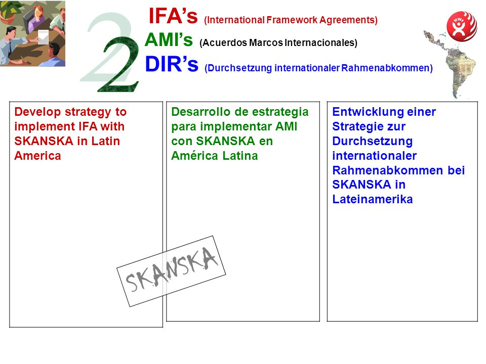 AMIs (Acuerdos Marcos Internacionales) Entwicklung einer Strategie zur Durchsetzung internationaler Rahmenabkommen bei SKANSKA in Lateinamerika Develop strategy to implement IFA with SKANSKA in Latin America Desarrollo de estrategia para implementar AMI con SKANSKA en América Latina IFAs (International Framework Agreements) DIRs (Durchsetzung internationaler Rahmenabkommen) SKANSKA