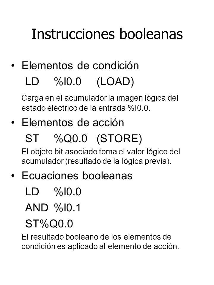 Instrucciones booleanas Elementos de condición LD %I0.0 (LOAD) Carga en el acumulador la imagen lógica del estado eléctrico de la entrada %I0.0. Eleme