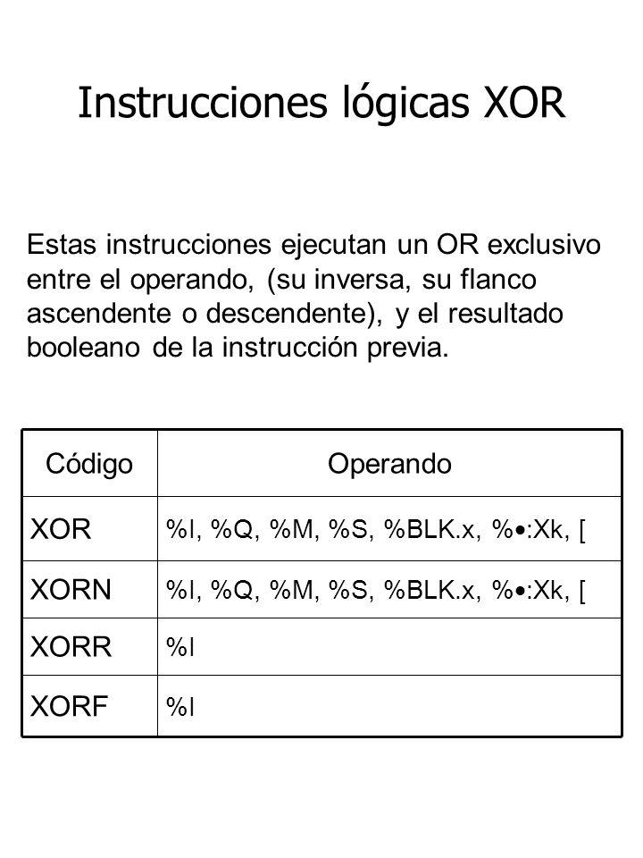 Instrucciones lógicas XOR %I XORF %I XORR %I, %Q, %M, %S, %BLK.x, % :Xk, [ XORN %I, %Q, %M, %S, %BLK.x, % :Xk, [ XOR OperandoCódigo Estas instrucciones ejecutan un OR exclusivo entre el operando, (su inversa, su flanco ascendente o descendente), y el resultado booleano de la instrucción previa.