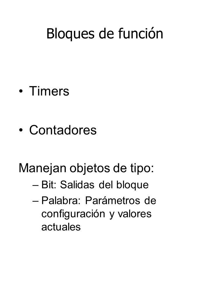 Bloques de función Timers Contadores Manejan objetos de tipo: –Bit: Salidas del bloque –Palabra: Parámetros de configuración y valores actuales