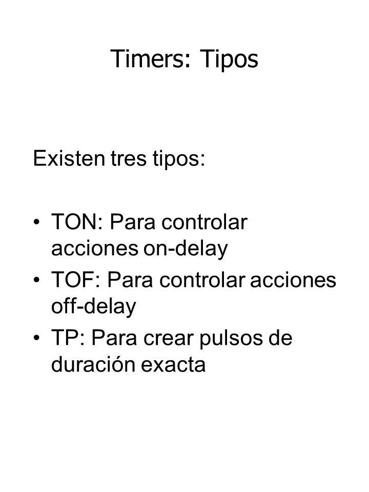 Timers: Tipos Existen tres tipos: TON: Para controlar acciones on-delay TOF: Para controlar acciones off-delay TP: Para crear pulsos de duración exacta