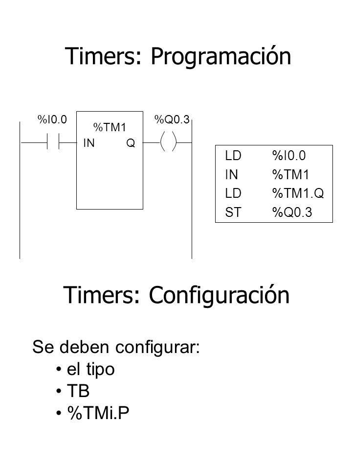 Timers: Programación LD%I0.0 IN%TM1 LD%TM1.Q ST %Q0.3 %I0.0 %Q0.3 %TM1 INQ Se deben configurar: el tipo TB %TMi.P Timers: Configuración