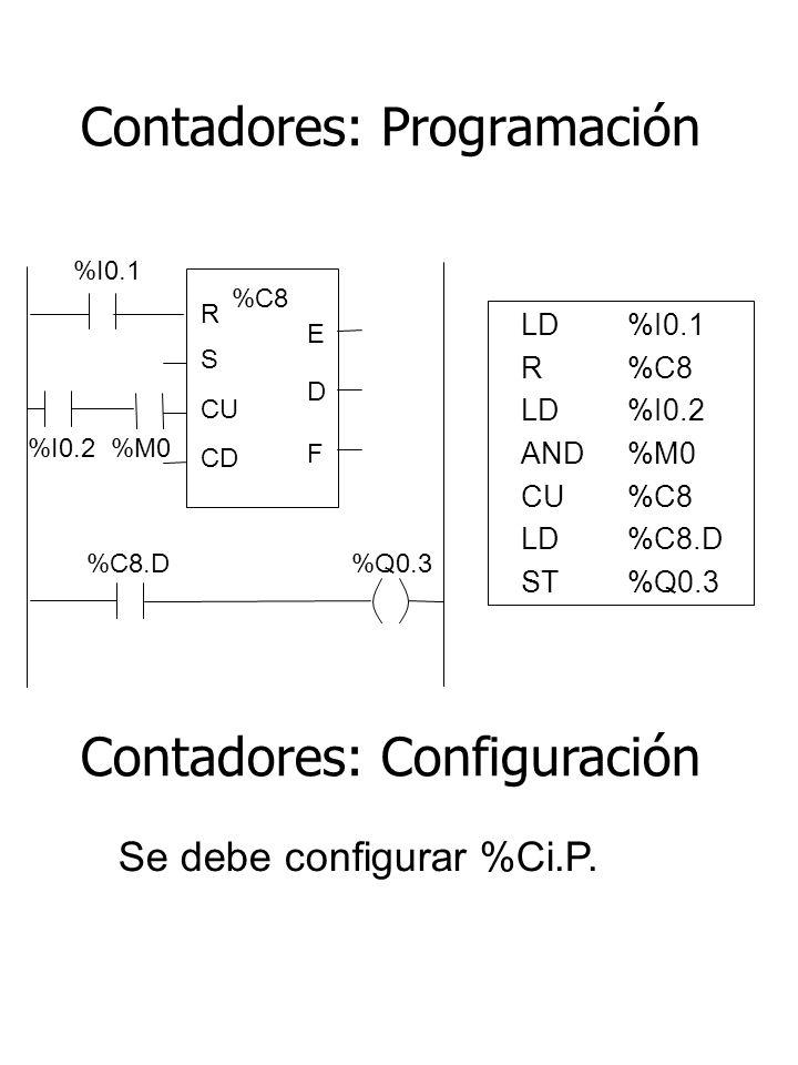 Contadores: Programación LD%I0.1 R%C8 LD%I0.2 AND%M0 CU %C8 LD %C8.D ST%Q0.3 Se debe configurar %Ci.P. %I0.1 %C8 R E S CU CD D F %C8.D %Q0.3 %I0.2 %M0