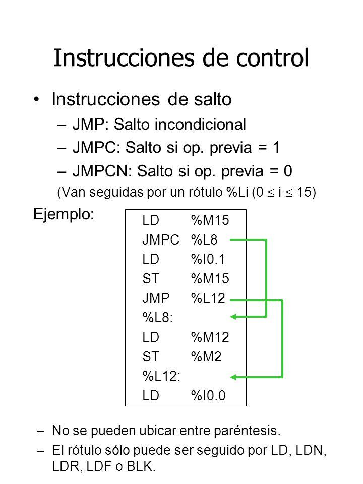 Instrucciones de control Instrucciones de salto –JMP: Salto incondicional –JMPC: Salto si op. previa = 1 –JMPCN: Salto si op. previa = 0 (Van seguidas