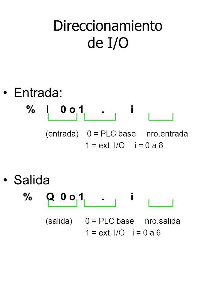 Direccionamiento de I/O Entrada: %I 0 o 1. i (entrada) 0 = PLC base nro.entrada 1 = ext. I/O i = 0 a 8 Salida %Q 0 o 1. i (salida) 0 = PLC base nro.sa