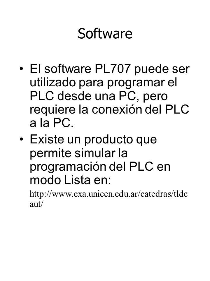Software El software PL707 puede ser utilizado para programar el PLC desde una PC, pero requiere la conexión del PLC a la PC.