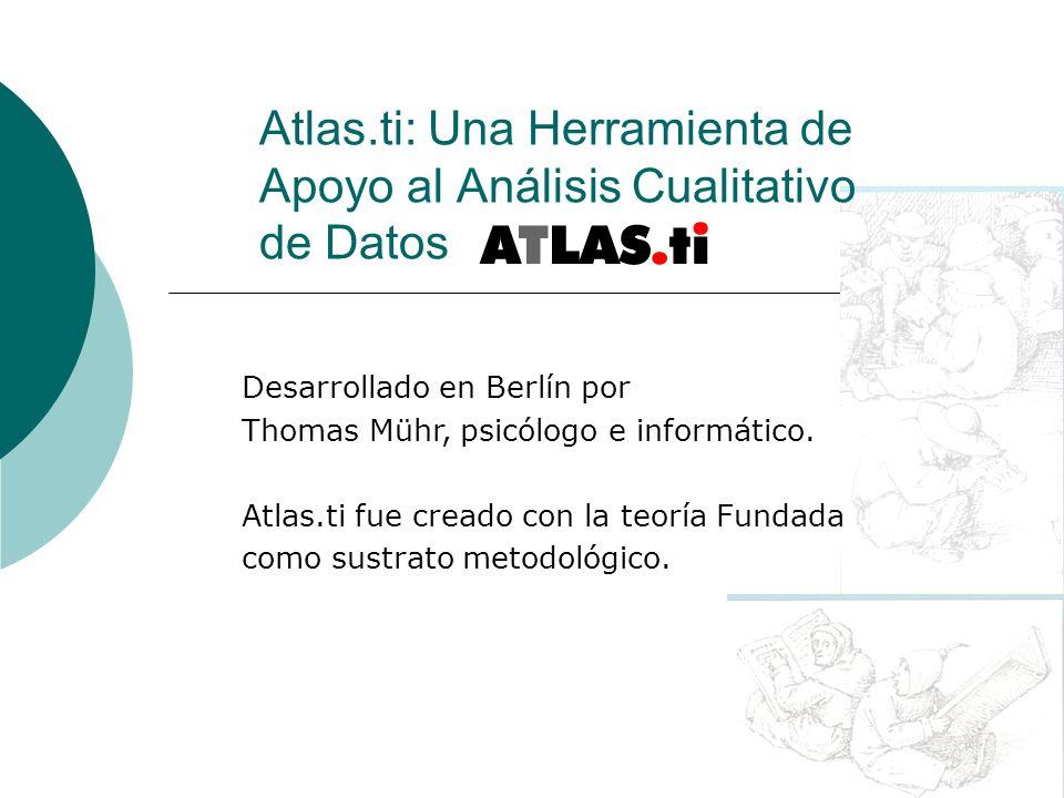 Atlas.ti: Una Herramienta de Apoyo al Análisis Cualitativo de Datos Desarrollado en Berlín por Thomas Mühr, psicólogo e informático. Atlas.ti fue crea