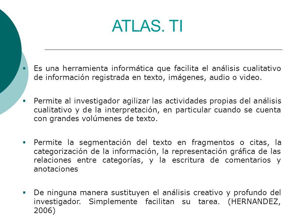 ATLAS. TI Es una herramienta informática que facilita el análisis cualitativo de información registrada en texto, imágenes, audio o video. Permite al