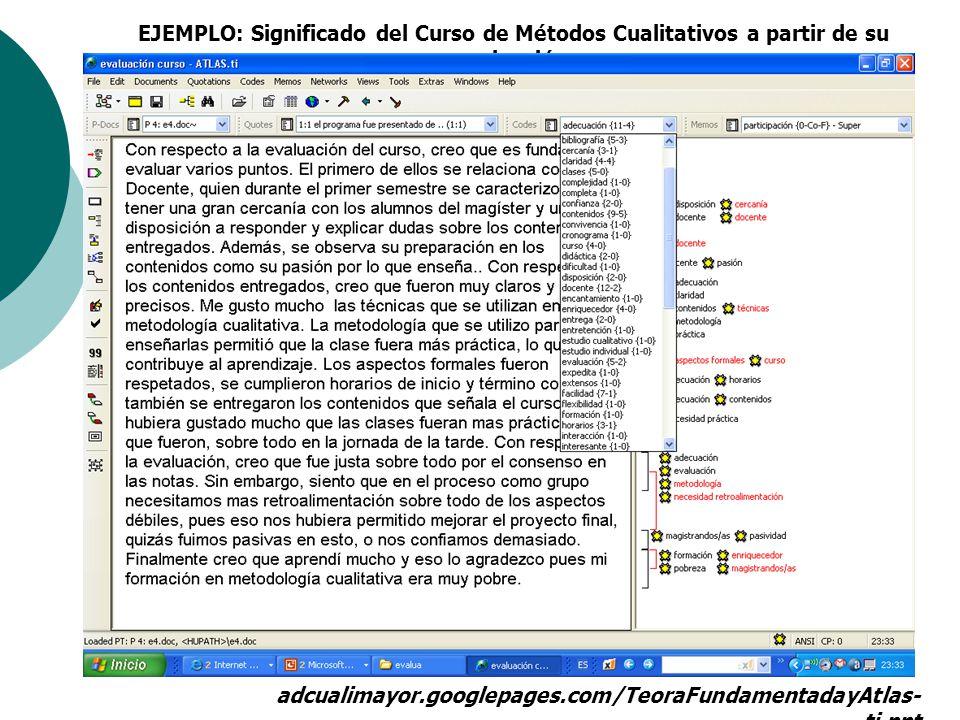EJEMPLO: Significado del Curso de Métodos Cualitativos a partir de su evaluación. adcualimayor.googlepages.com/TeoraFundamentadayAtlas- ti.ppt