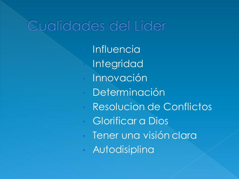 Influencia Integridad Innovación Determinación Resolucion de Conflictos Glorificar a Dios Tener una visión clara Autodisiplina