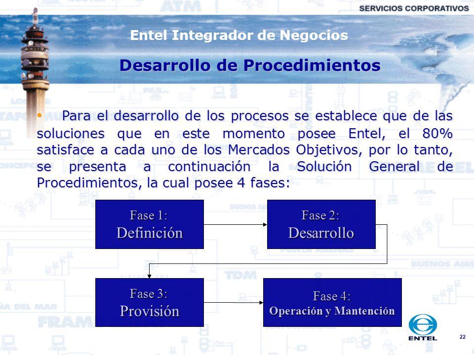22 Para el desarrollo de los procesos se establece que de las soluciones que en este momento posee Entel, el 80% satisface a cada uno de los Mercados