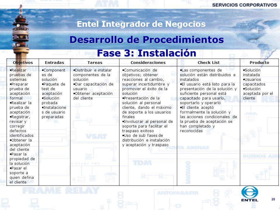28 Entel Integrador de Negocios Desarrollo de Procedimientos Fase 3: Instalación ObjetivosEntradasTareasConsideracionesCheck ListProducto Realizar pru