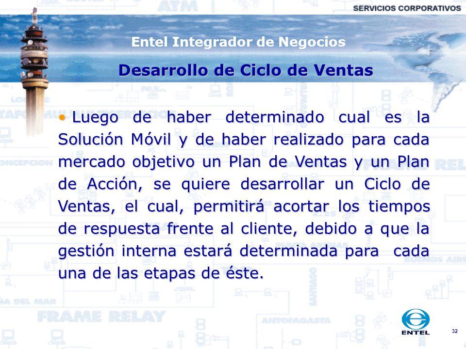 32 Entel Integrador de Negocios Luego de haber determinado cual es la Solución Móvil y de haber realizado para cada mercado objetivo un Plan de Ventas
