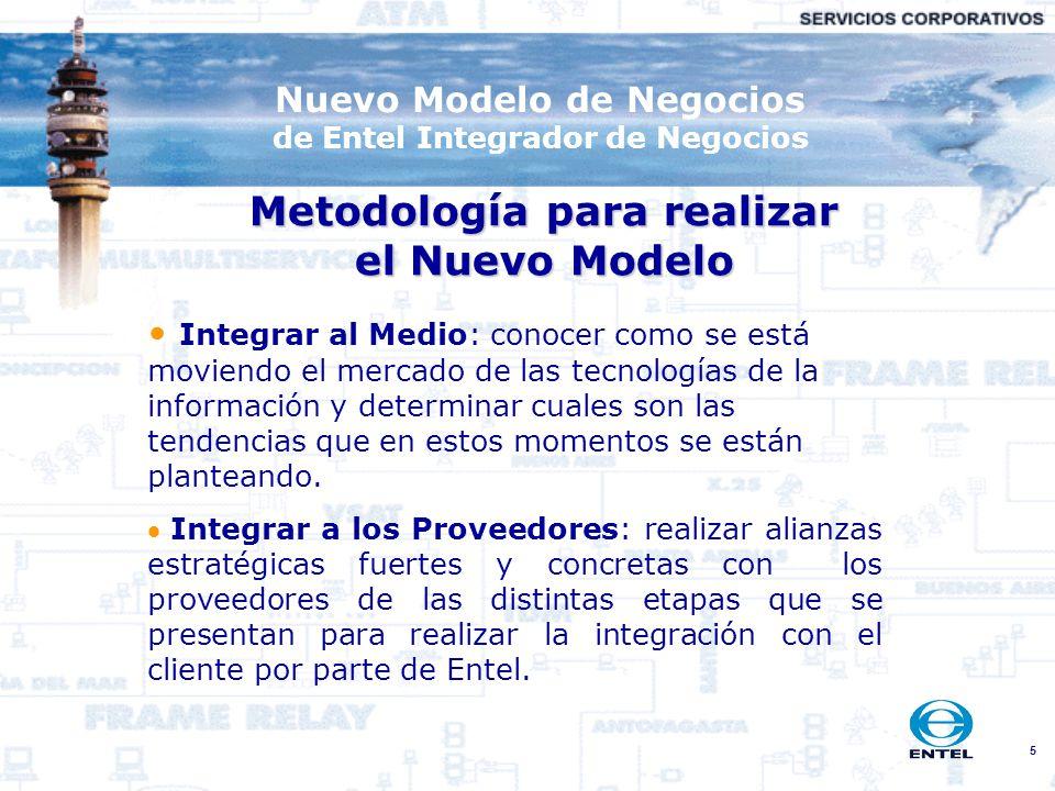 5 Nuevo Modelo de Negocios de Entel Integrador de Negocios Metodología para realizar el Nuevo Modelo Integrar al Medio: conocer como se está moviendo