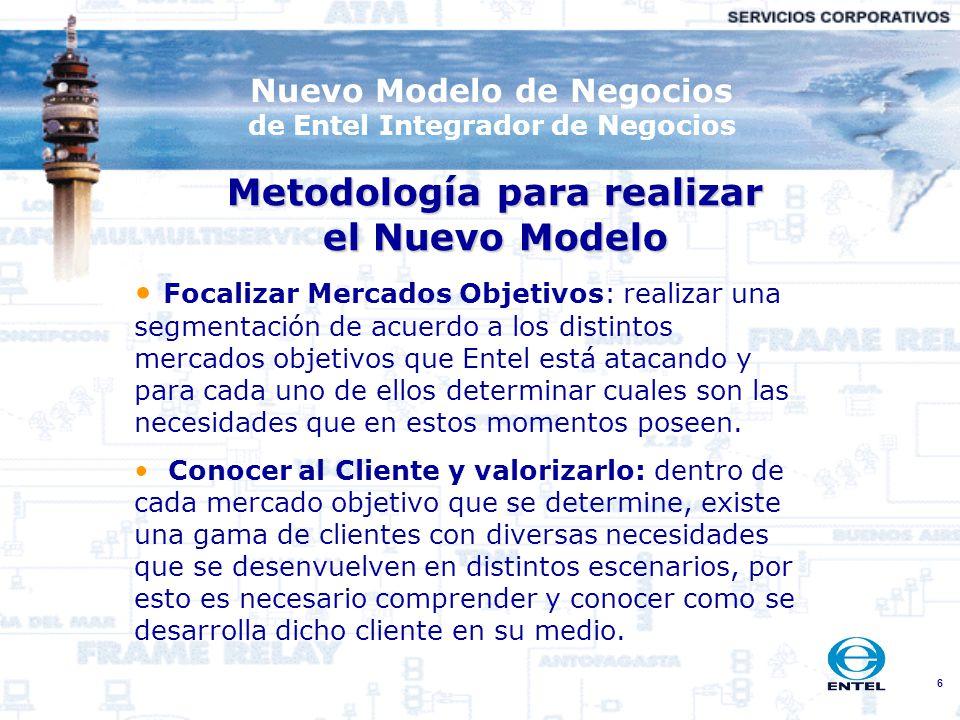 6 Nuevo Modelo de Negocios de Entel Integrador de Negocios Metodología para realizar el Nuevo Modelo Focalizar Mercados Objetivos: realizar una segmen
