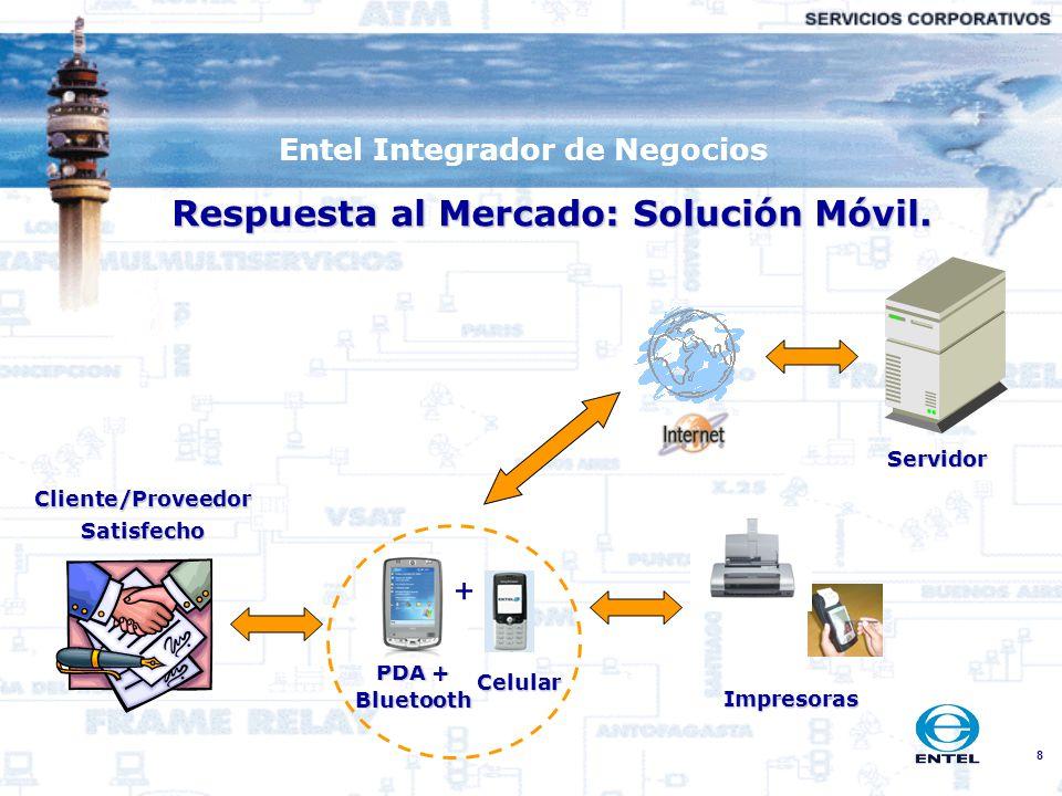 8 Entel Integrador de Negocios Respuesta al Mercado: Solución Móvil. Cliente/ProveedorSatisfecho Celular PDA + Bluetooth Servidor Impresoras +