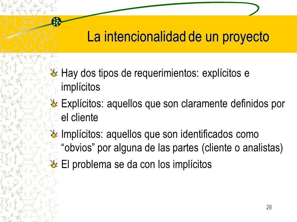28 La intencionalidad de un proyecto Hay dos tipos de requerimientos: explícitos e implícitos Explícitos: aquellos que son claramente definidos por el