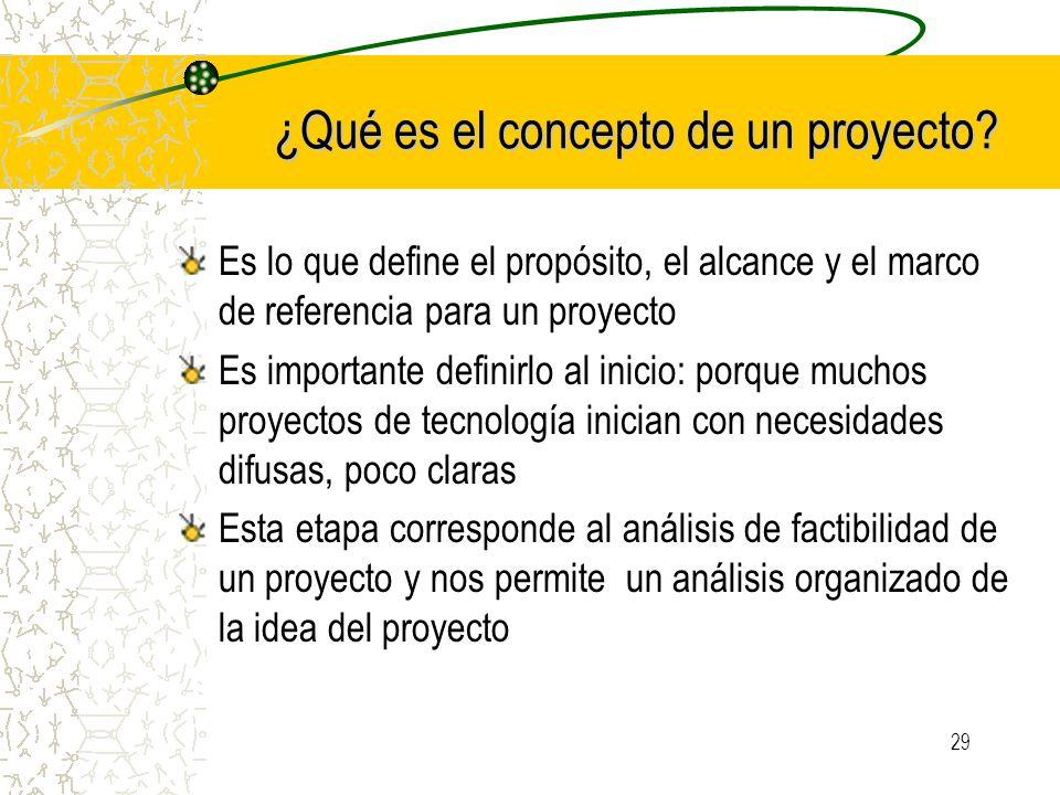 29 ¿Qué es el concepto de un proyecto? Es lo que define el propósito, el alcance y el marco de referencia para un proyecto Es importante definirlo al