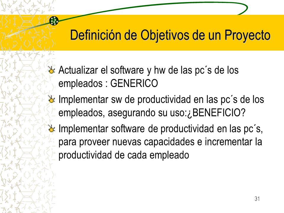 31 Definición de Objetivos de un Proyecto Actualizar el software y hw de las pc´s de los empleados : GENERICO Implementar sw de productividad en las p