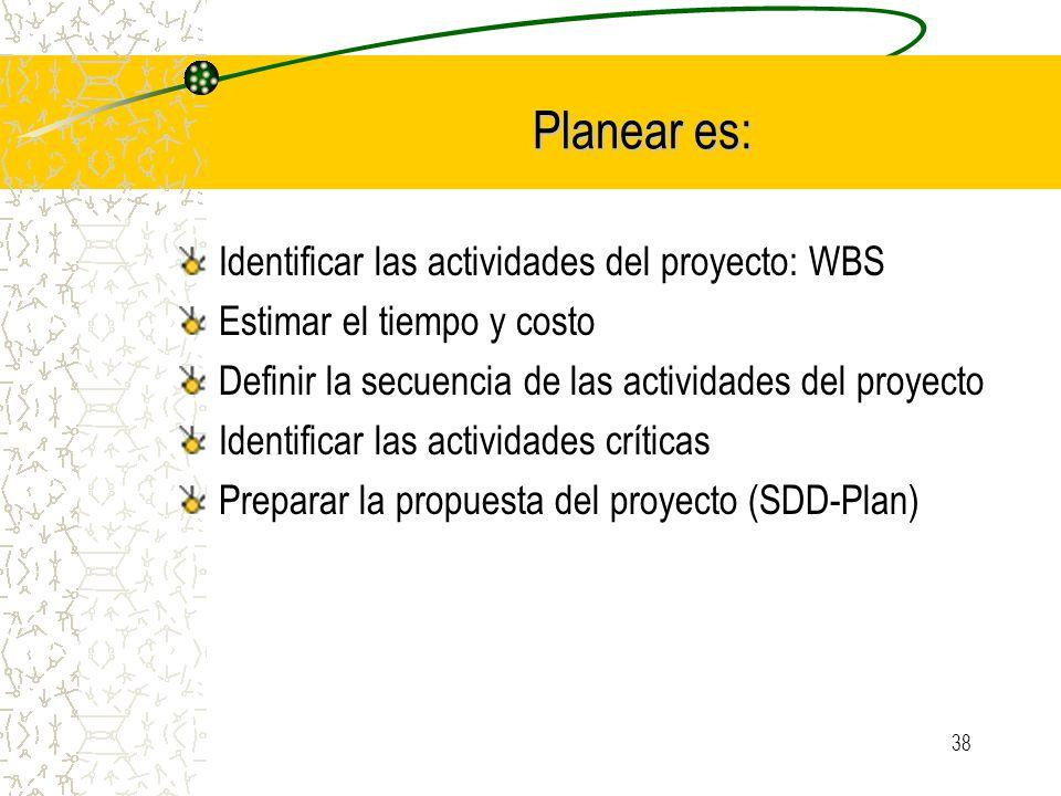 38 Planear es: Planear es: Identificar las actividades del proyecto: WBS Estimar el tiempo y costo Definir la secuencia de las actividades del proyect