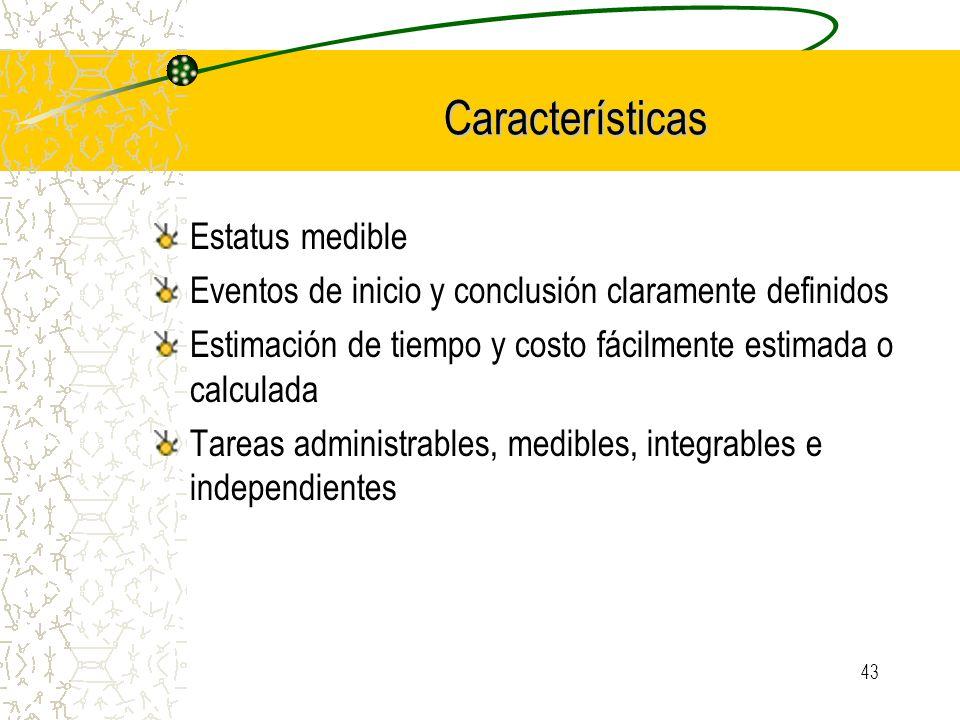 43 Características Estatus medible Eventos de inicio y conclusión claramente definidos Estimación de tiempo y costo fácilmente estimada o calculada Ta
