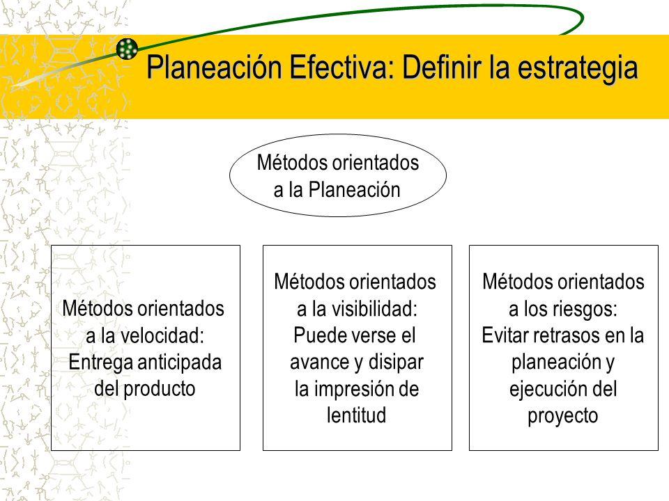 Métodos orientados a la Planeación Métodos orientados a la velocidad: Entrega anticipada del producto Métodos orientados a la visibilidad: Puede verse