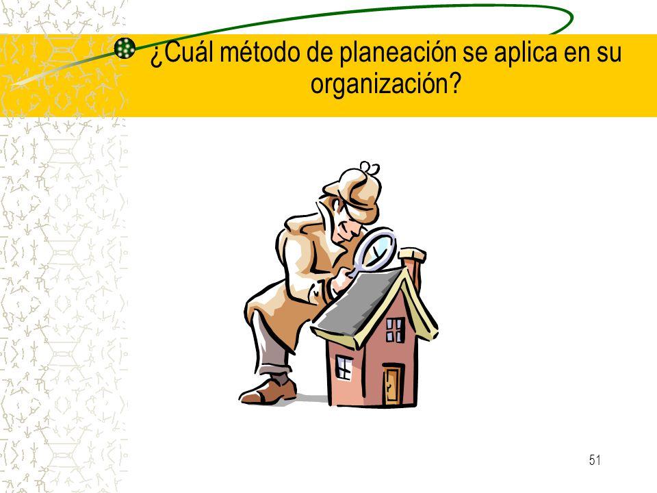 51 ¿Cuál método de planeación se aplica en su organización?