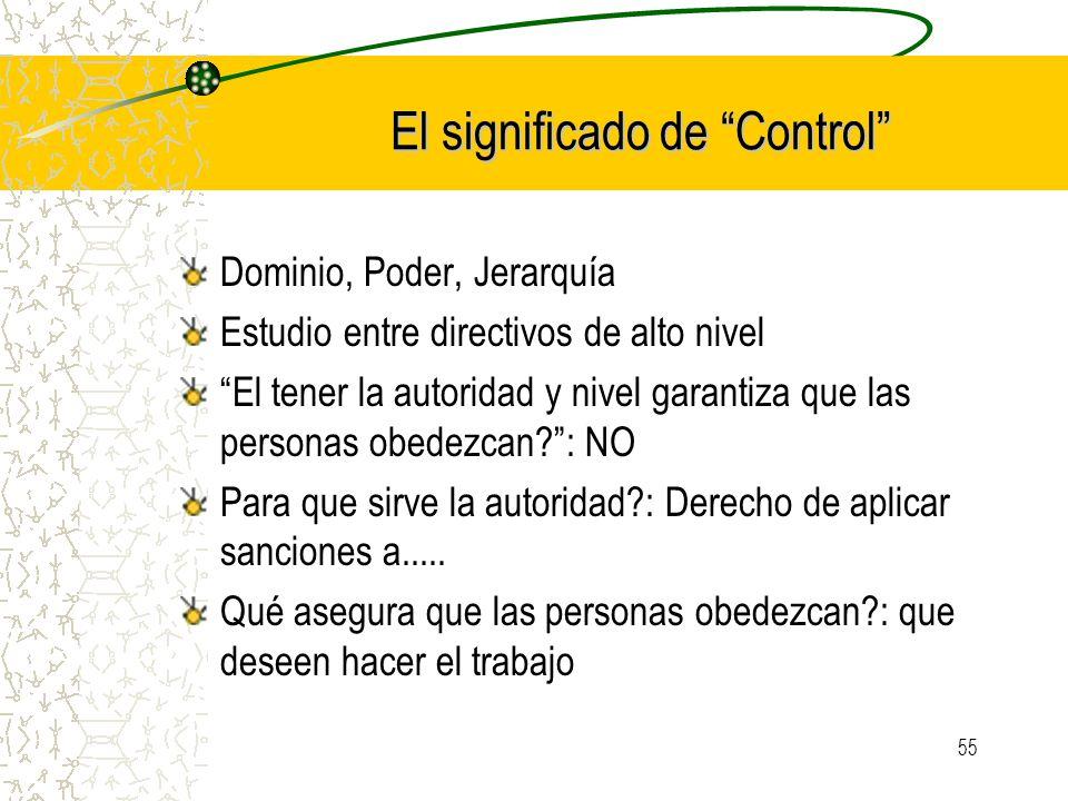 55 El significado de Control Dominio, Poder, Jerarquía Estudio entre directivos de alto nivel El tener la autoridad y nivel garantiza que las personas