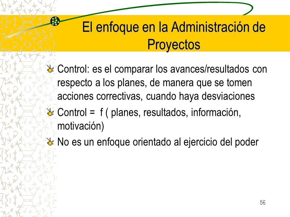 56 El enfoque en la Administración de Proyectos Control: es el comparar los avances/resultados con respecto a los planes, de manera que se tomen accio