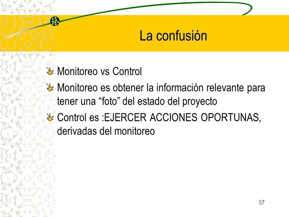 57 La confusión Monitoreo vs Control Monitoreo es obtener la información relevante para tener una foto del estado del proyecto Control es :EJERCER ACC
