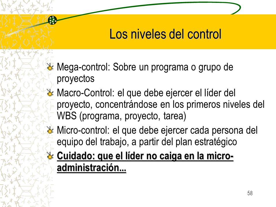 58 Los niveles del control Mega-control: Sobre un programa o grupo de proyectos Macro-Control: el que debe ejercer el líder del proyecto, concentrándo
