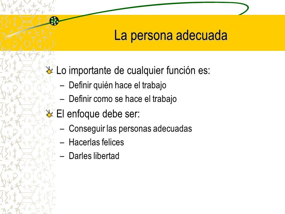 La persona adecuada Lo importante de cualquier función es: –Definir quién hace el trabajo –Definir como se hace el trabajo El enfoque debe ser: –Conse