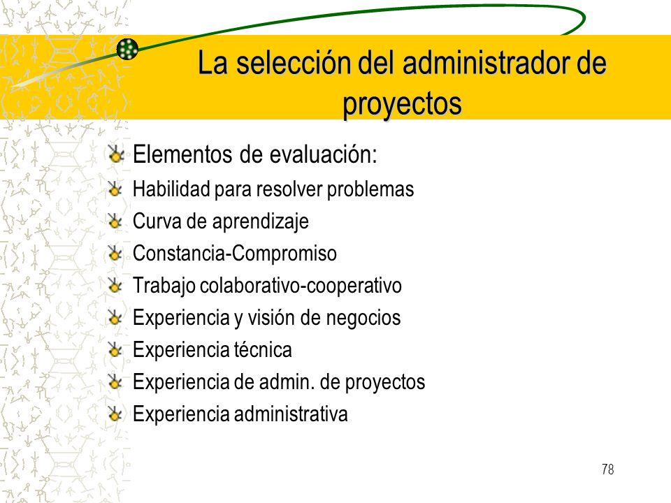 78 La selección del administrador de proyectos Elementos de evaluación: Habilidad para resolver problemas Curva de aprendizaje Constancia-Compromiso T