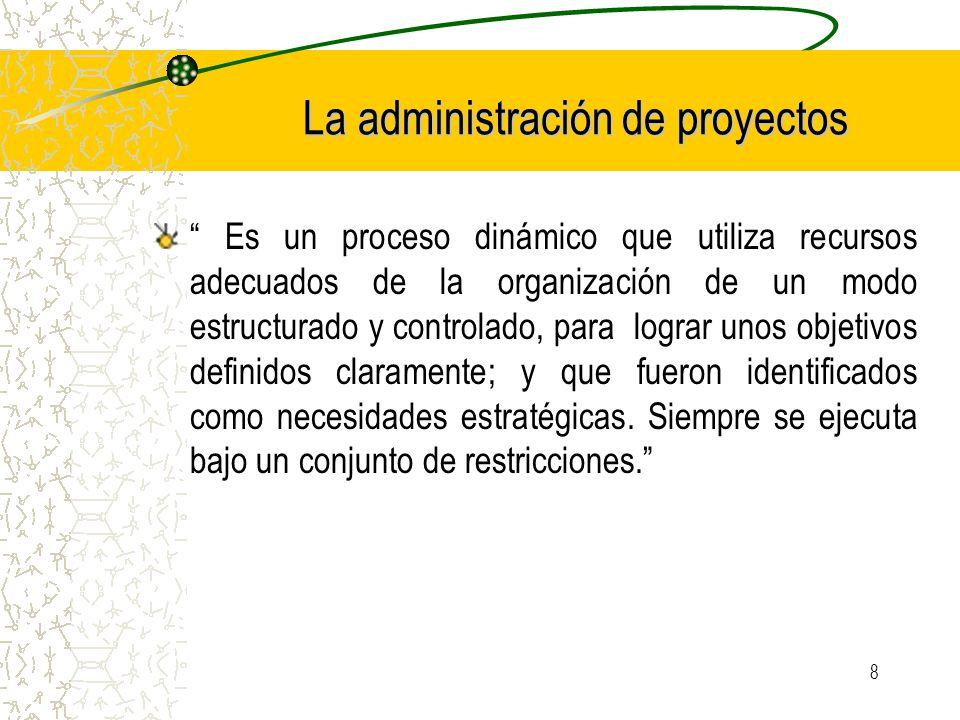 8 La administración de proyectos Es un proceso dinámico que utiliza recursos adecuados de la organización de un modo estructurado y controlado, para l